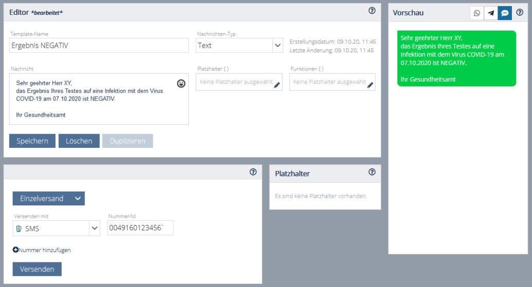 Corona-Testergebnisse per SMS über Webtool von Message Mobile
